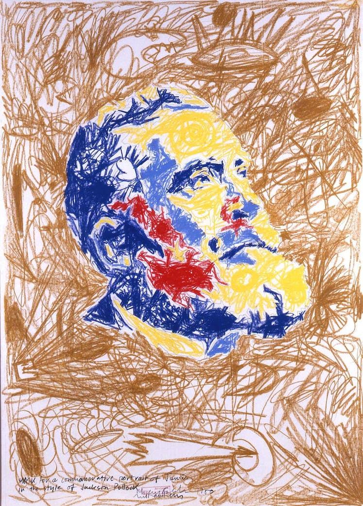 ART LANGUAGE Mask for a commemorative portrait of Jaures in the style of Jackson Pollock 1980 Collection de la Province de Hainaut en depot au BPS22