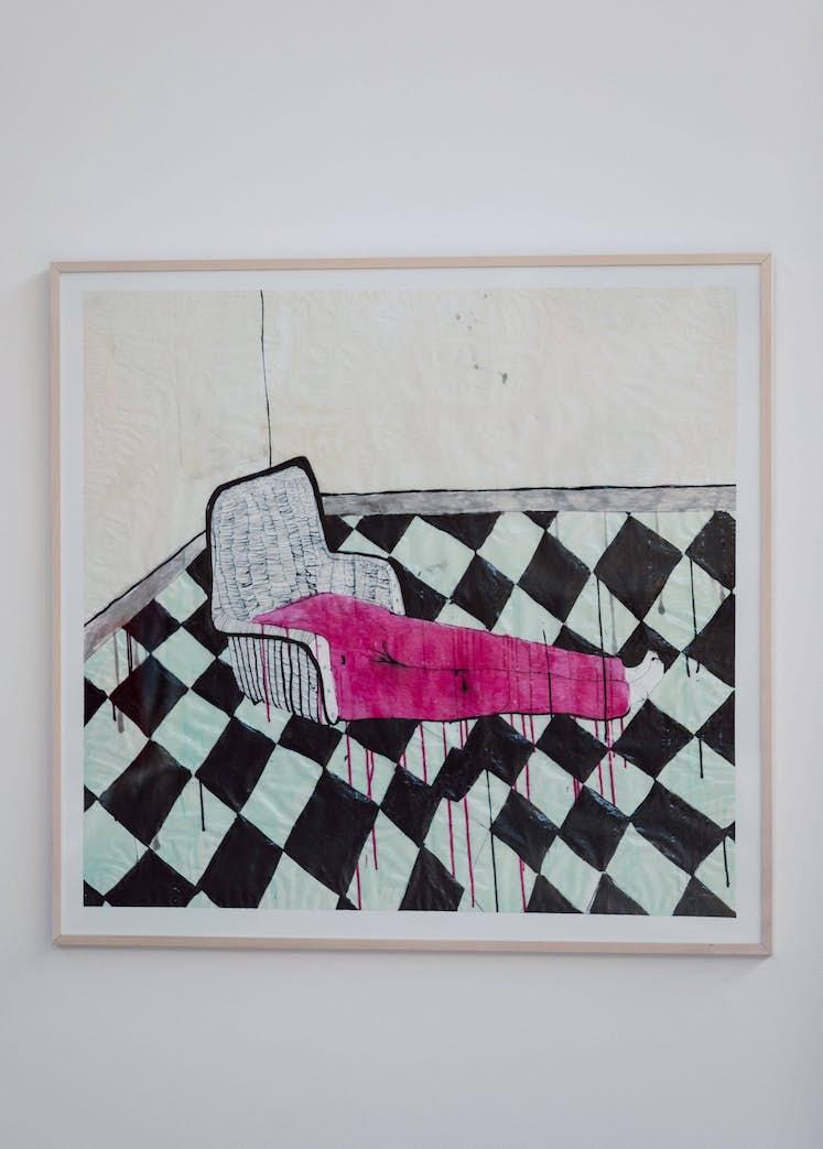 """Priscilla BECCARI, """"Siège-enfant à deux jambes"""", 2013. Exposition La Colère de Ludd BPS22 2020 Photo : Leslie Artamonow"""
