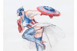 "Margaret Harrison, ""Captain America II"", 1997. Courtesy Nicolas Krupp, Basel  Photo: Serge Hasenböhler"