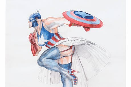 Margaret Harrison, Captain America II, 1997. Courtesy Nicolas Krupp, Basel  Photo: Serge Hasenböhler