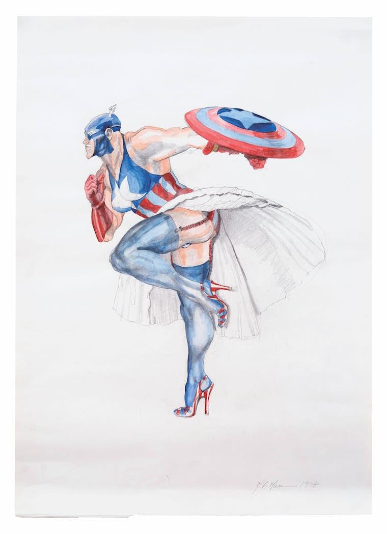 Margaret Harrison, Captain America II, 1997. Courtesy Nicolas Krupp, Basel  Photo: Serge Hasenböhler