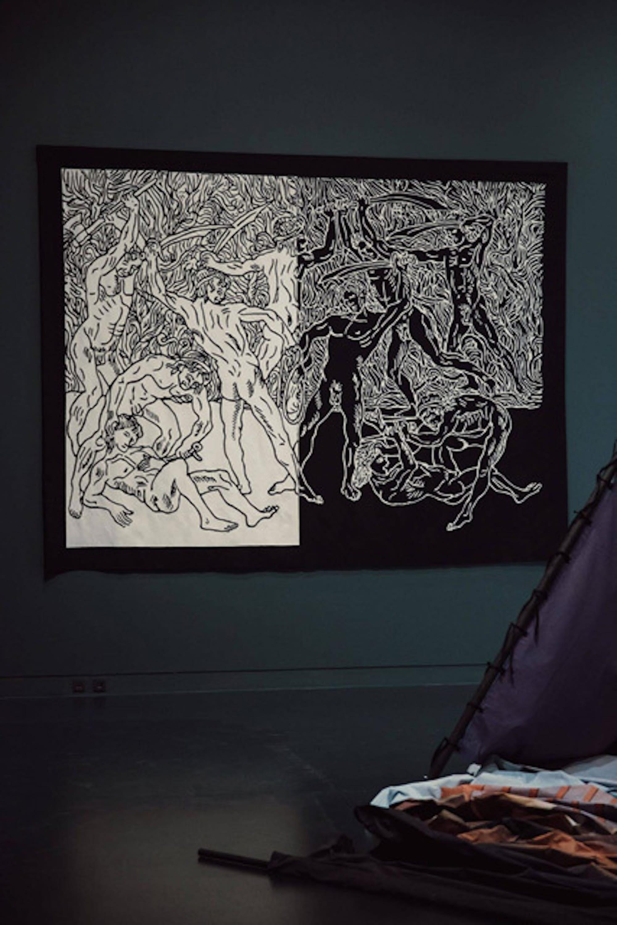 """mounir fatmi, """"Le Dernier Combat"""", 2019. Exposition La Colère de Ludd, BPS22, 2020. Photo : Leslie Artamonow"""